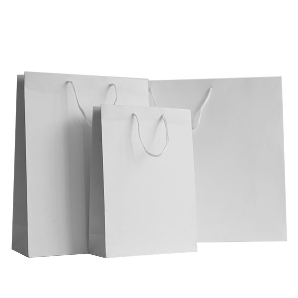White Matt Recycled Paper Bags With Rope Handles Carrier