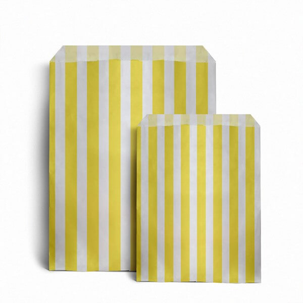 Paper bag yellow - Yellow Candy Stripe Paper Bags