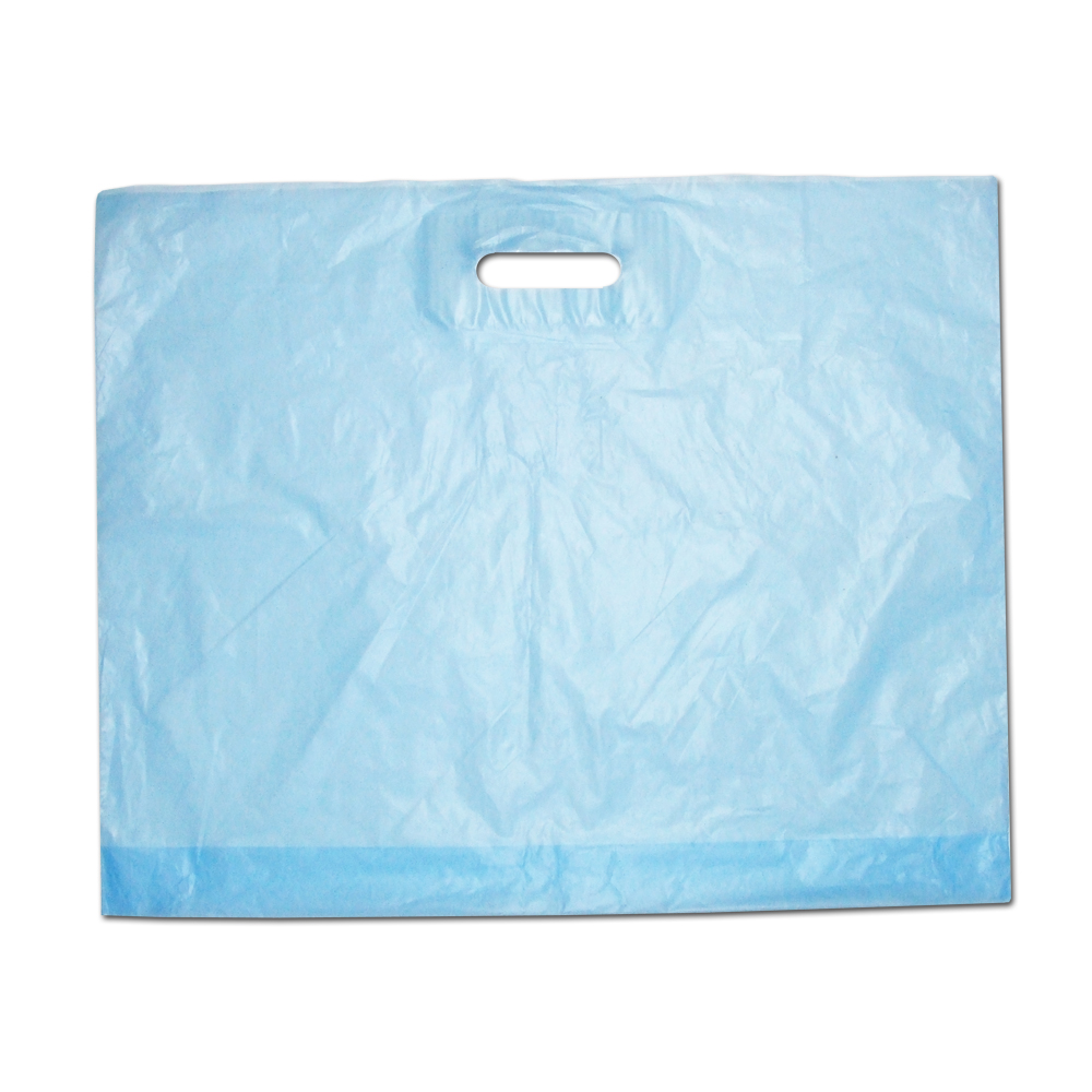 Frosted Blue Patch Handle Plastic Bags Branded Bags