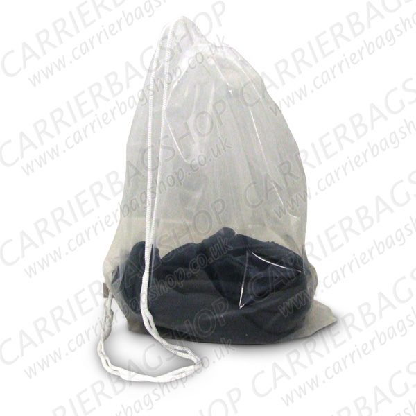 Clear Duffle Style Plastic Carrier Bags Branded Bag