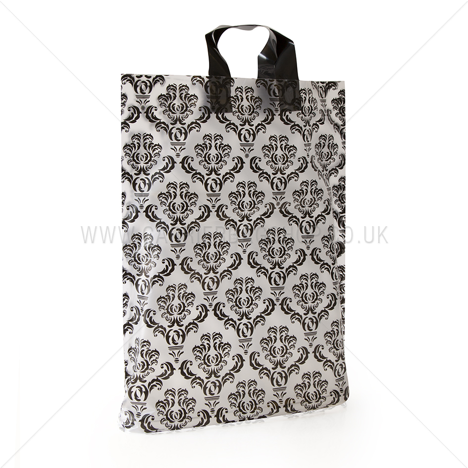 Loop Handle Black Damask Print Plastic Carrier Bag