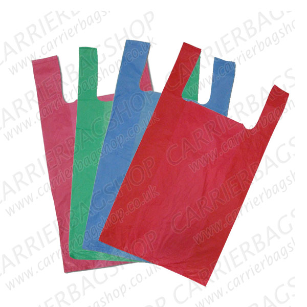 Multi Coloured Vest Style Plastic Carrier Bags From