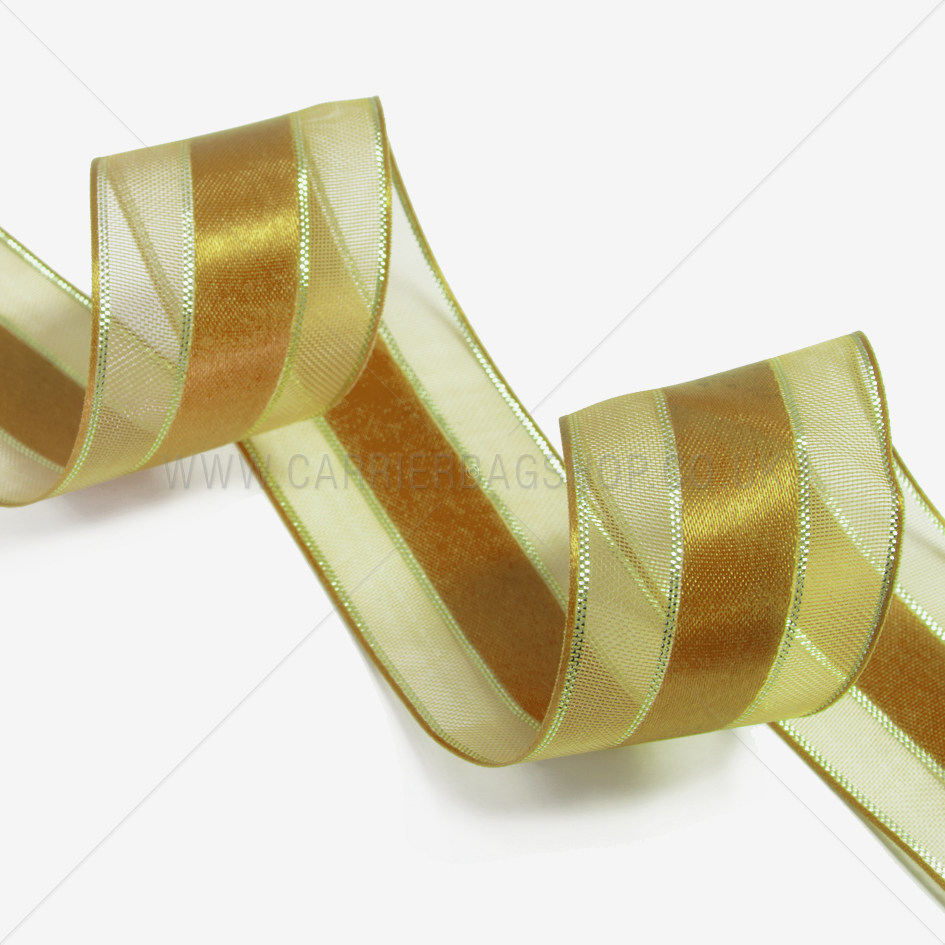 Gold Sheer And Satin Ribbons From Carrier Bag Shop Tone
