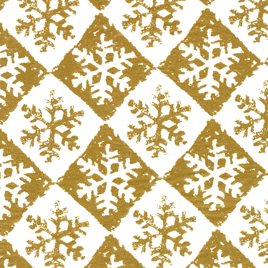 Gold Chequered Snowflake Design Christmas Tissue Paper