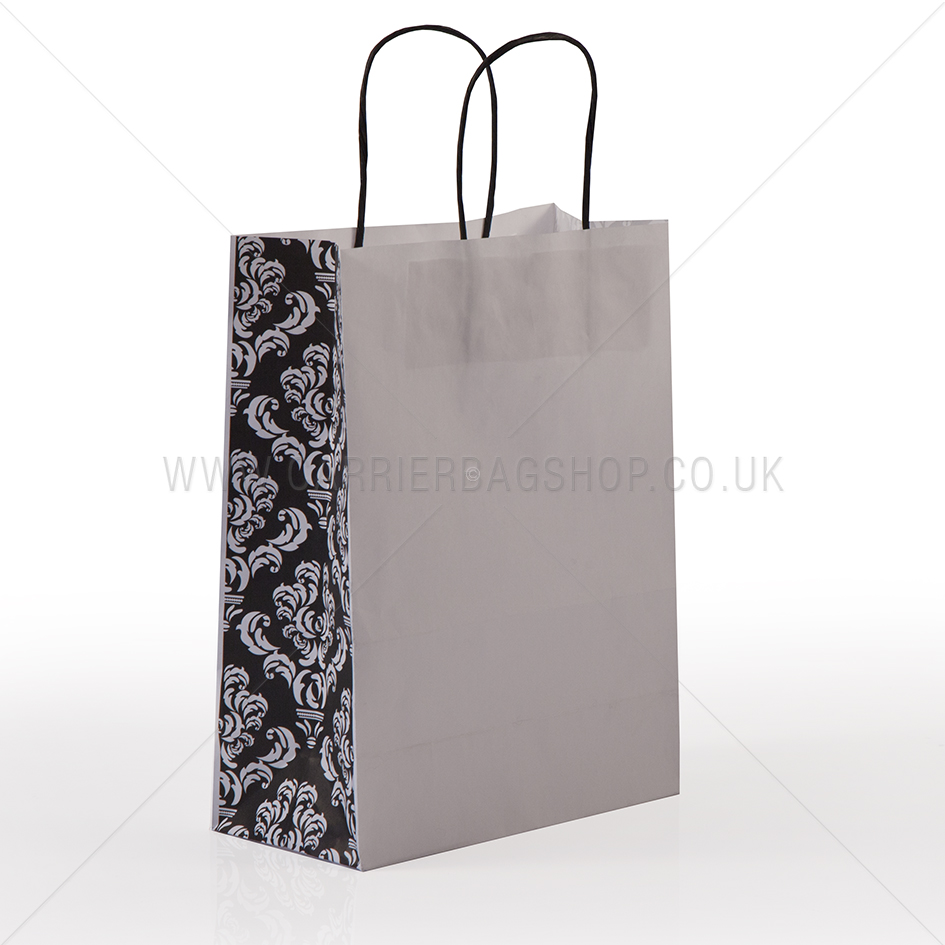 Black Damask Panel Paper Carrier Bags Paper Bags