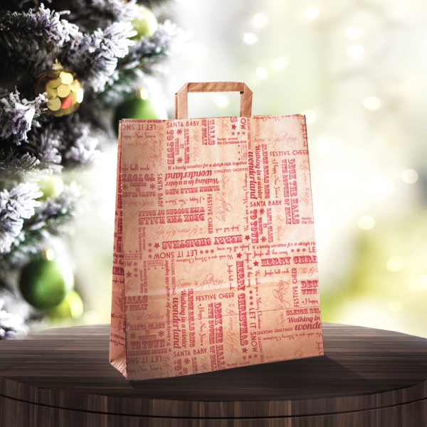 Red Christmas Paper Bags Christmas Carrier Bags