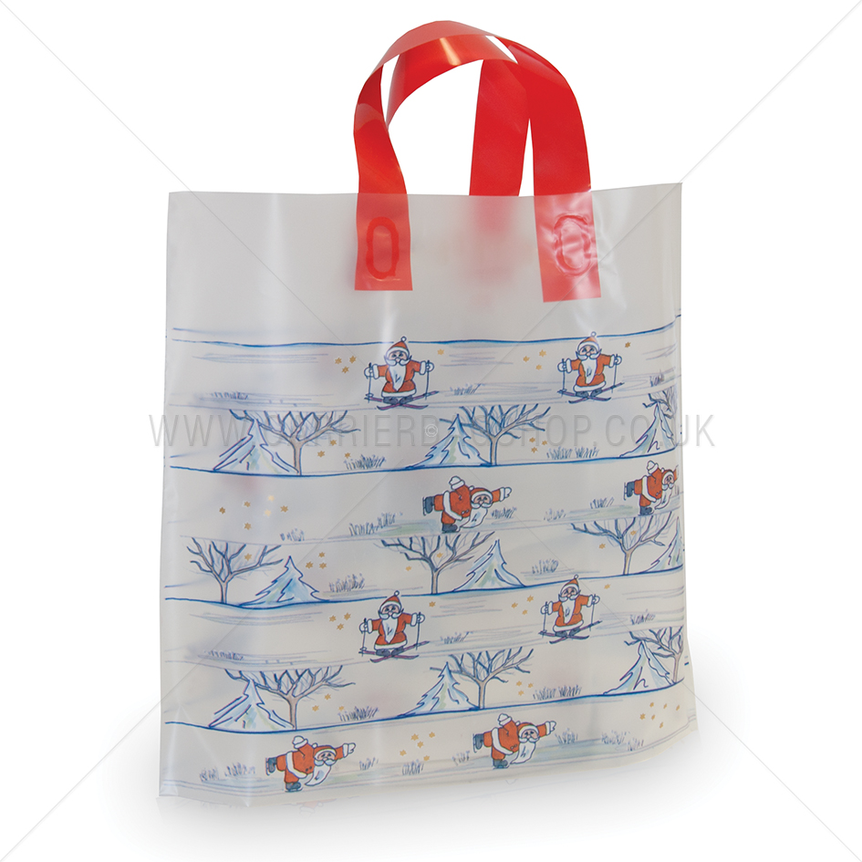 Santa on ice premium plastic carrier bags from bag