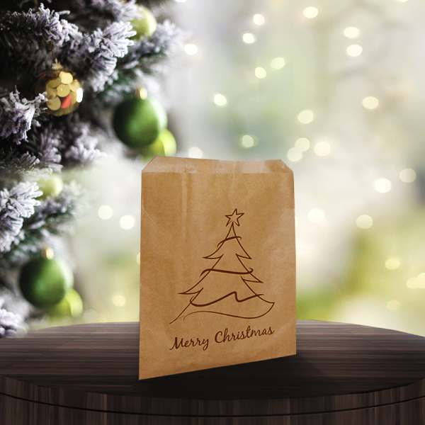 Christmas Tree Design Brown Kraft Paper Bags