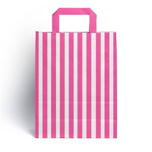 Shocking Pink Candy Stripe Paper Carrier Bags