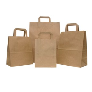 Premium Brown Paper Carrier Bags with Internal Flat Handle