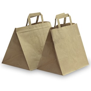 Brown Patisserie Carrier Bags with Flat Handles