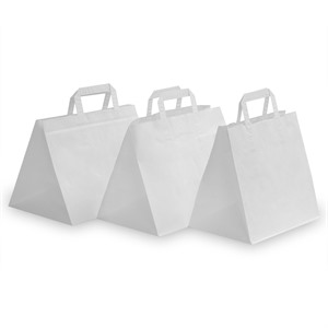 White Patisserie Carrier Bags with Flat Handles