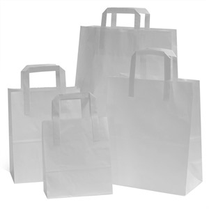 White Paper Carrier Bags with Flat Handles