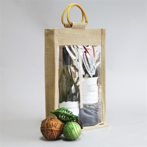 Two Bottle Jute Bags with Window