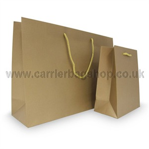 Gold Matt Recycled Paper Bags With Rope Handles Carrier