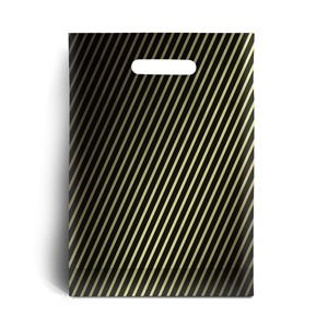 Black and Gold Stripe Degradable Plastic Carrier Bags
