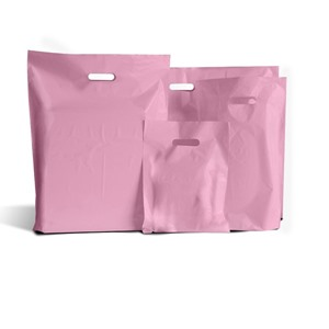 Pink Biodegradable Plastic Carrier Bags