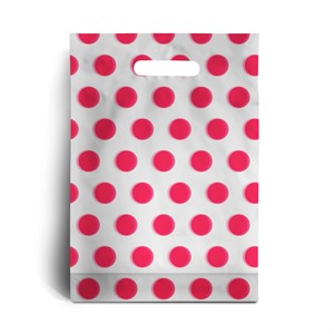 Standard Shocking Pink Polka Dot Degradable Plastic Carrier Bags