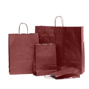 Burnt Red Premium Italian Paper Carrier Bags with Twisted Handles