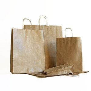 100% Recycled Economy Brown (Unribbed) Paper Bags with Twisted Handles