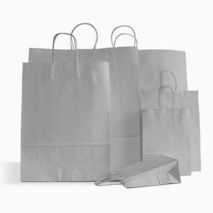 Grey  Premium Italian Paper Carrier Bags with Twisted Handles