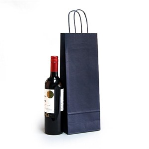 Italian Blue Paper One Bottle Bag with Twisted Handles