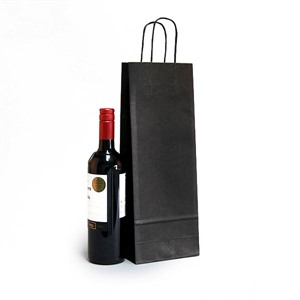 Italian Black Paper One Bottle Bag with Twisted Handles