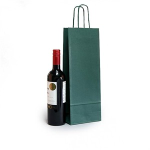 Italian Green Paper One Bottle Bag with Twisted Handles