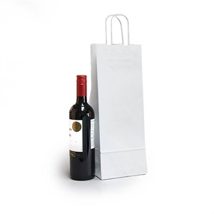 Italian White Paper One Bottle Bag with Twisted Handles