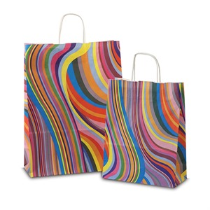 Seventies Design Paper Carrier Bags with Twisted Handles