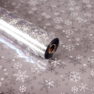 Silver Snowflake Design Cellophane Florist Roll