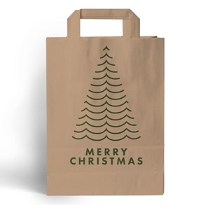 Merry Christmas Brown Kraft Paper Carrier Bags