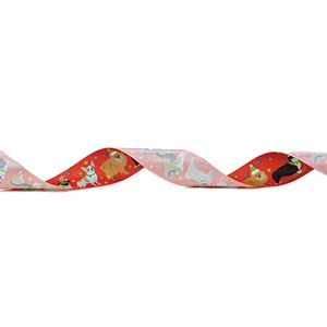 Christmas Dogs Red Ribbon 25mm x 25m