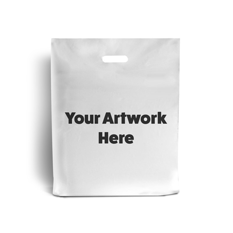 White Printed Plastic Carrier Bags