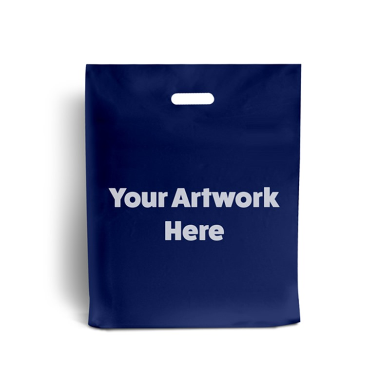 Navy Blue Printed Plastic Carrier Bags