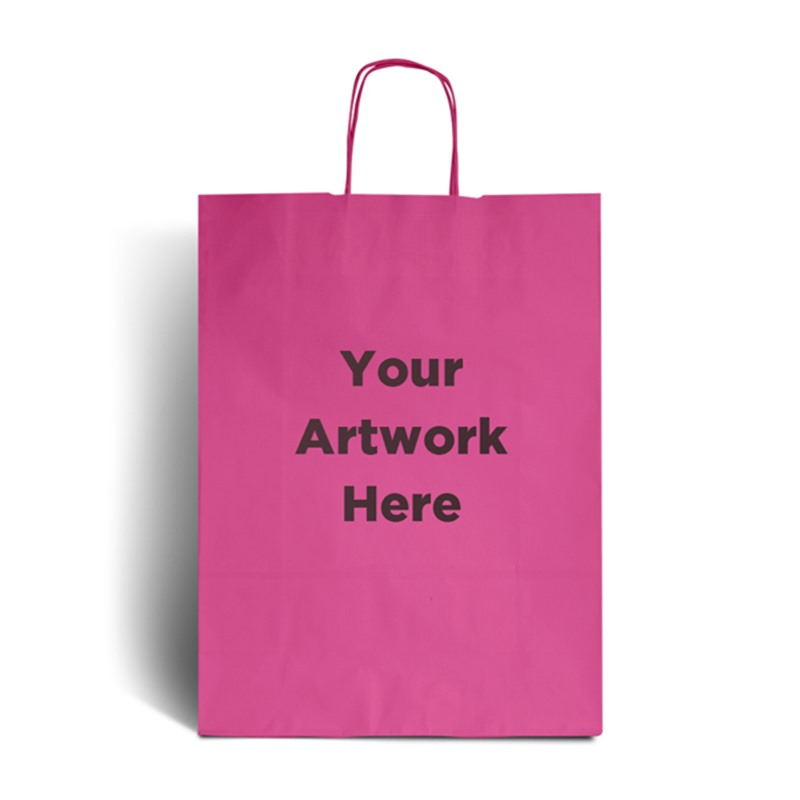 Magenta Printed Paper Bags with Twisted Handles