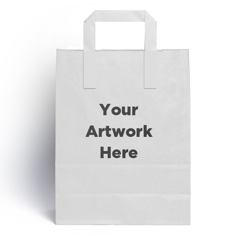 Printed External Flat Handle Paper Carrier Bags