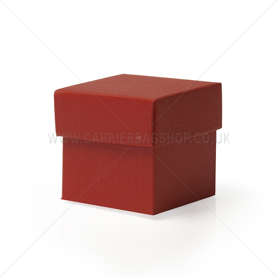 Red Silk Square Gift Boxes With Lids Gift Packaging