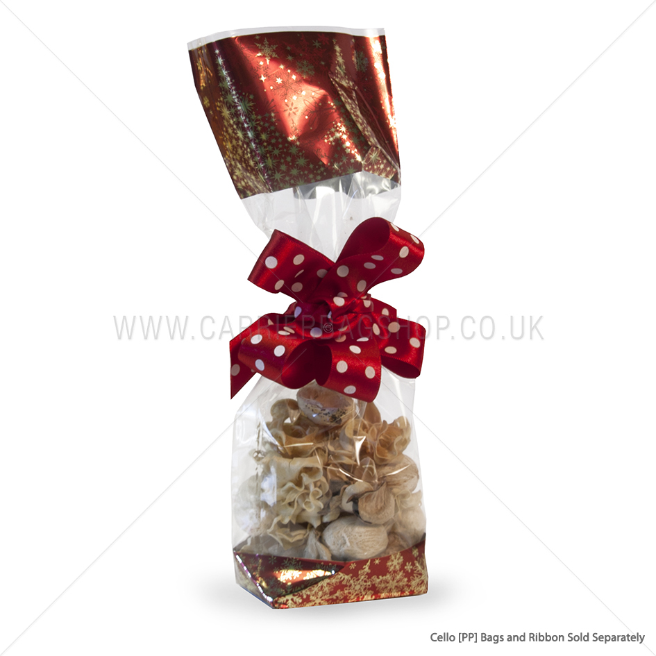 red christmas tree cello gift bags pp