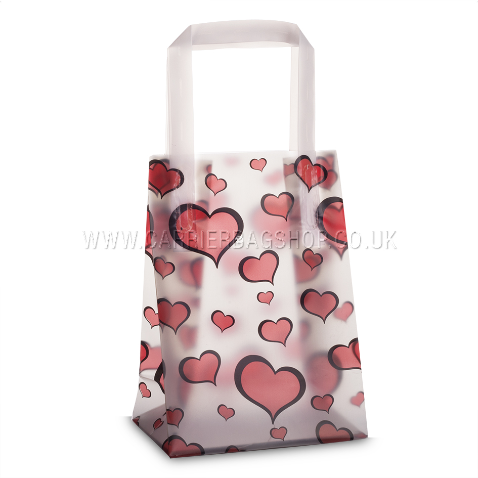 Premium Frosted Heart Print Plastic Gift Bags