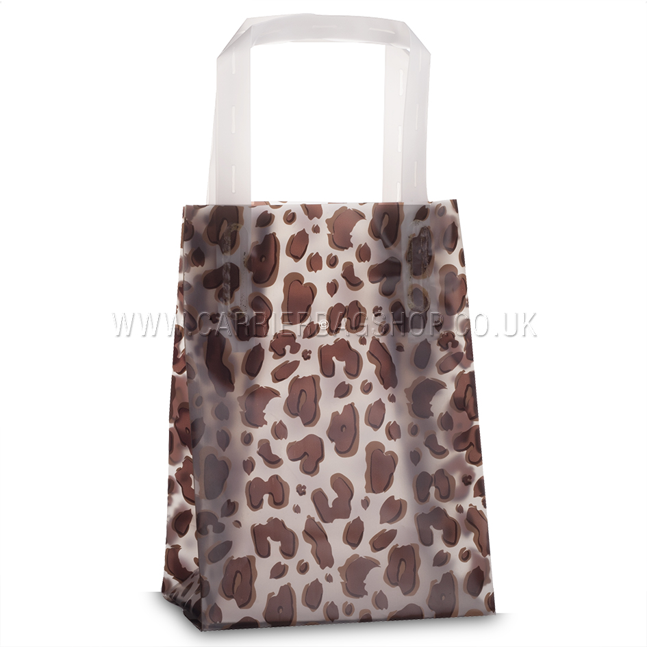 Premium Frosted Leopard Print Plastic Gift Bags