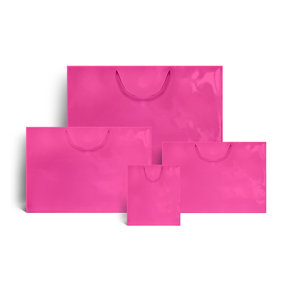Shocking Pink Gloss Recycled Paper Bags Luxury Bags