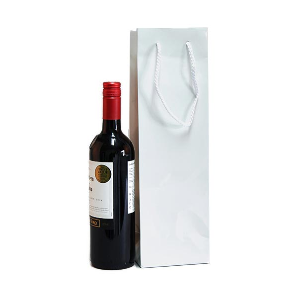 White Gloss Laminated Bottle Bags Eco Friendly Carrier