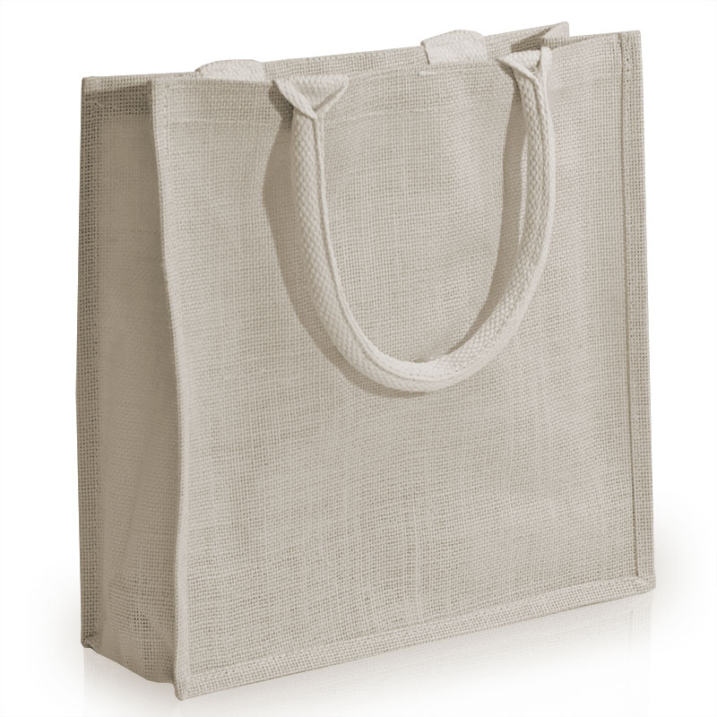 Small White Jute Bags With Luxury Padded Handles Carrier