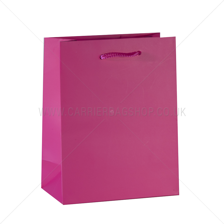 Shocking Pink Matt Recycled Bags With Rope Handles