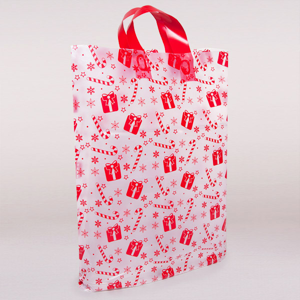 Red Gift Design Plastic Bags With Loop Handles Carrier