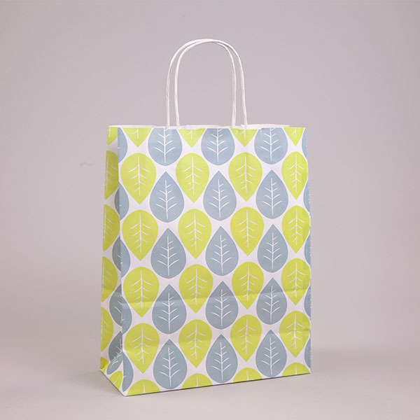 Green And Blue Leaf Carrierbags Patterned Paper Bags