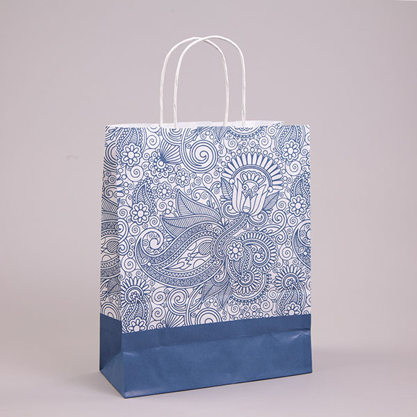 blue paisley carrier bags patterned paper bags carrier bag shop