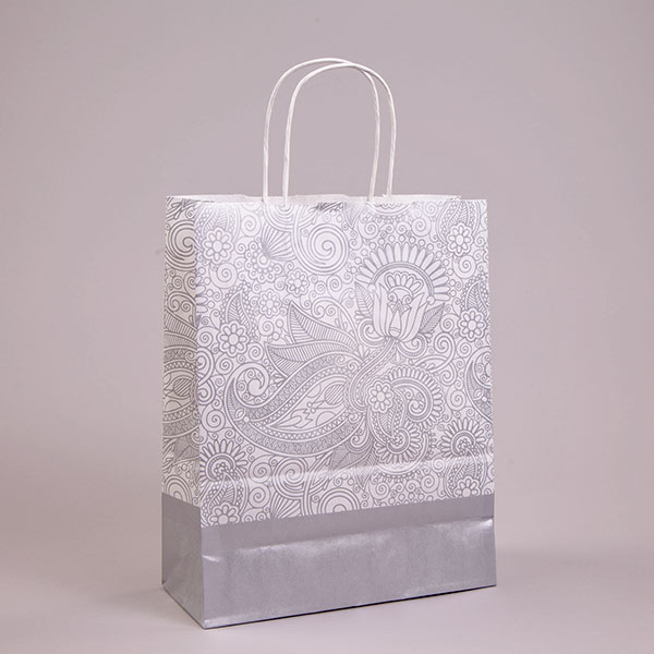 Silver Paisley Carrier Bags Patterned Paper Bags