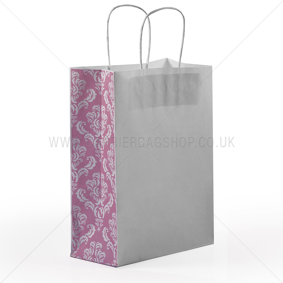 Pink Damask Panel Paper Carrier Bags Paper Bags